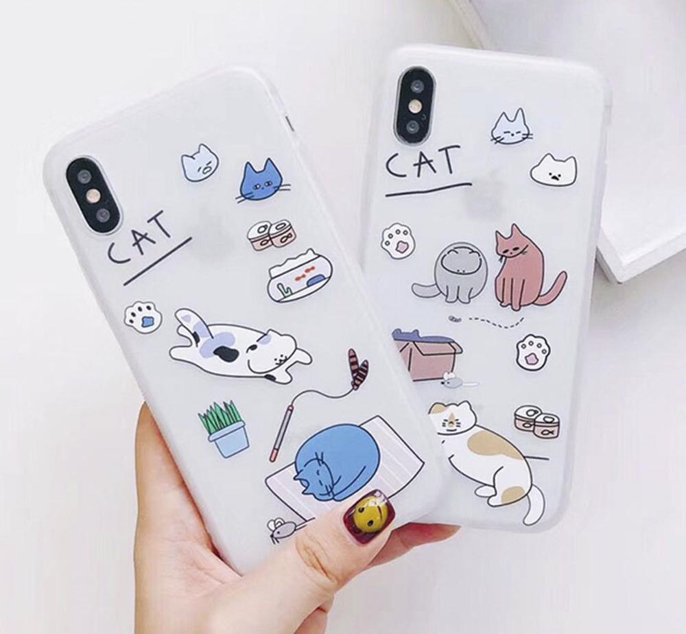 Gato dos desenhos animados phone case para iphone 6 s case para iphone x 6 7 8 plus moda adorável animal gatos tampa traseira casos macios tpu capa
