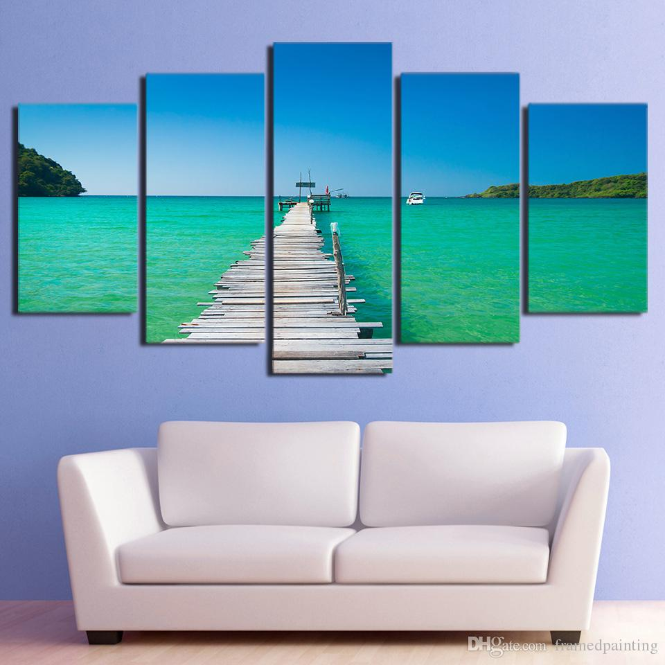 5 Panel HD Printed Canvas Art Seascape Bridge Painting Framed Modular Canvas Painting Wall Pictures Poster Free Shipping
