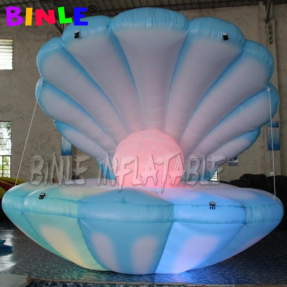 Charming blue 2m LED lighting inflatable seashell with pearl/inflatable cowry shell model for stage decoration