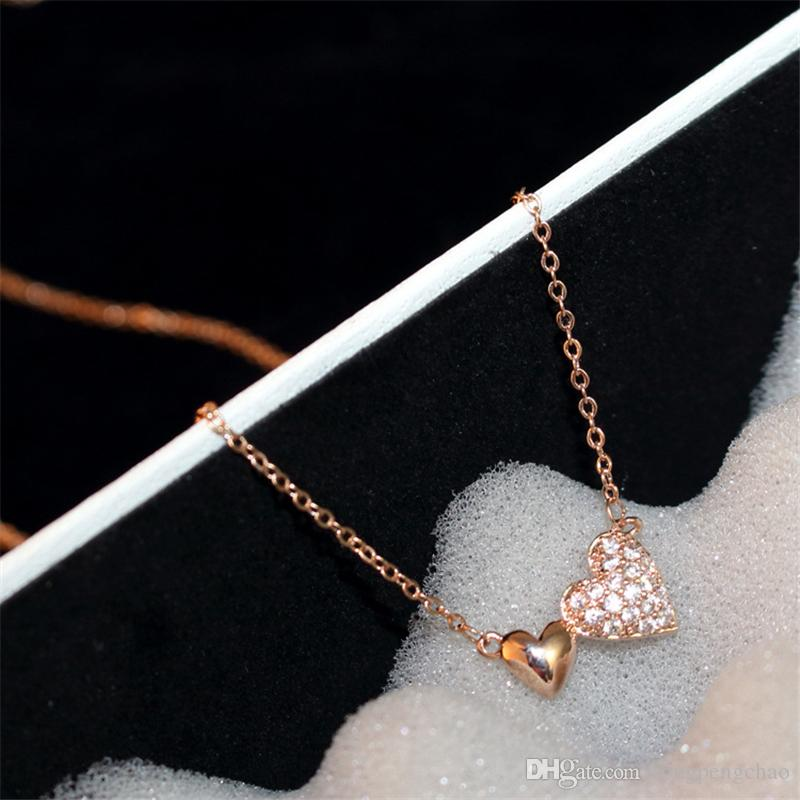 New women double love winding necklace zircon exquisite fashion heart-shaped clavicle chain Valentine's Day gift necklace