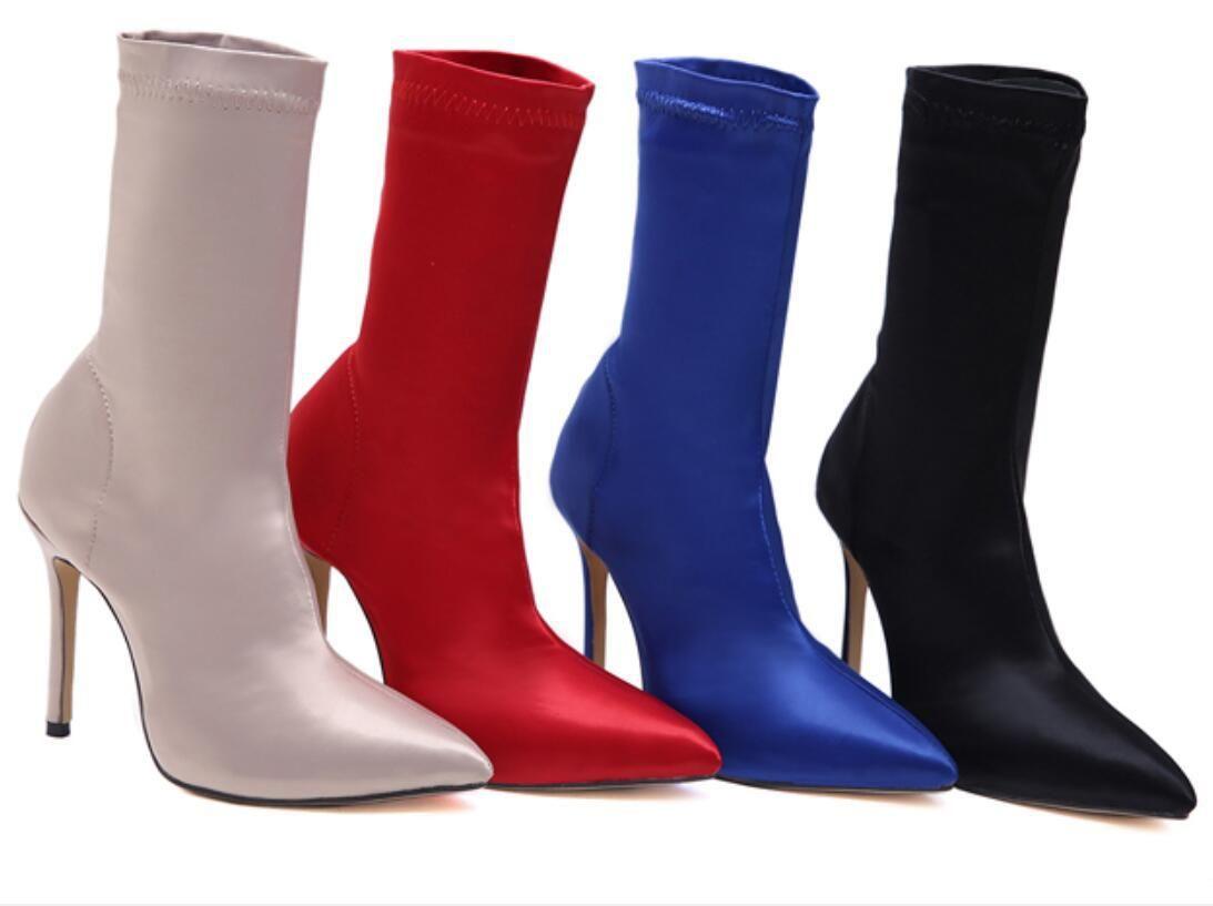 Sıcak Satış-Seksi kadın elastik çorap yarım çizmeler düz renk sivri saten 11cm stiletto topuklu orta buzağı moda çizmeler 4 renk ble188-18