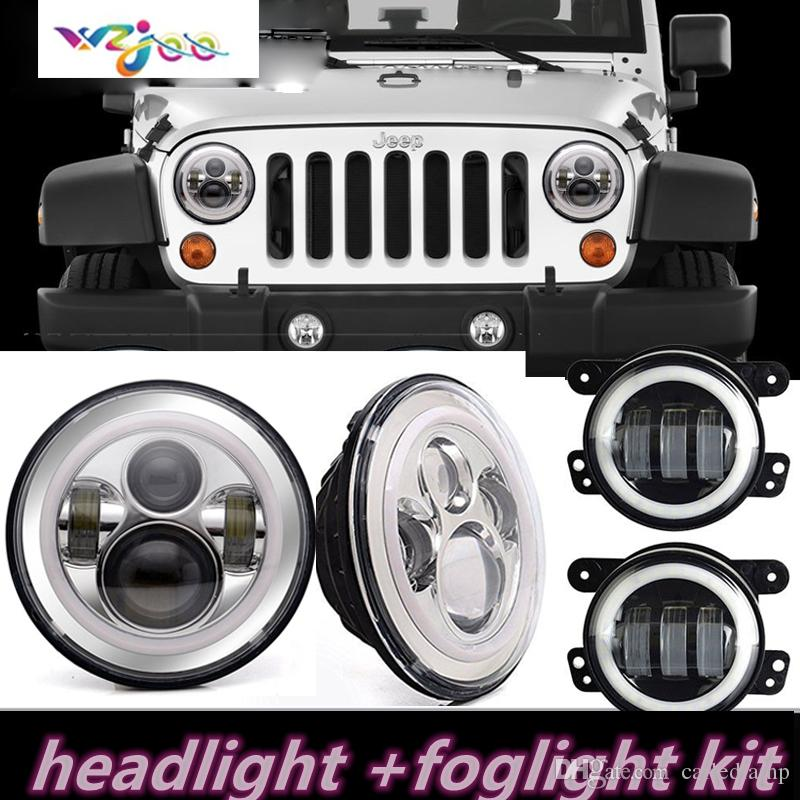 "For Jeep Wrangler JK 7/"" Halo LED Headlight With 10-LED Light high//low Beam Kit"