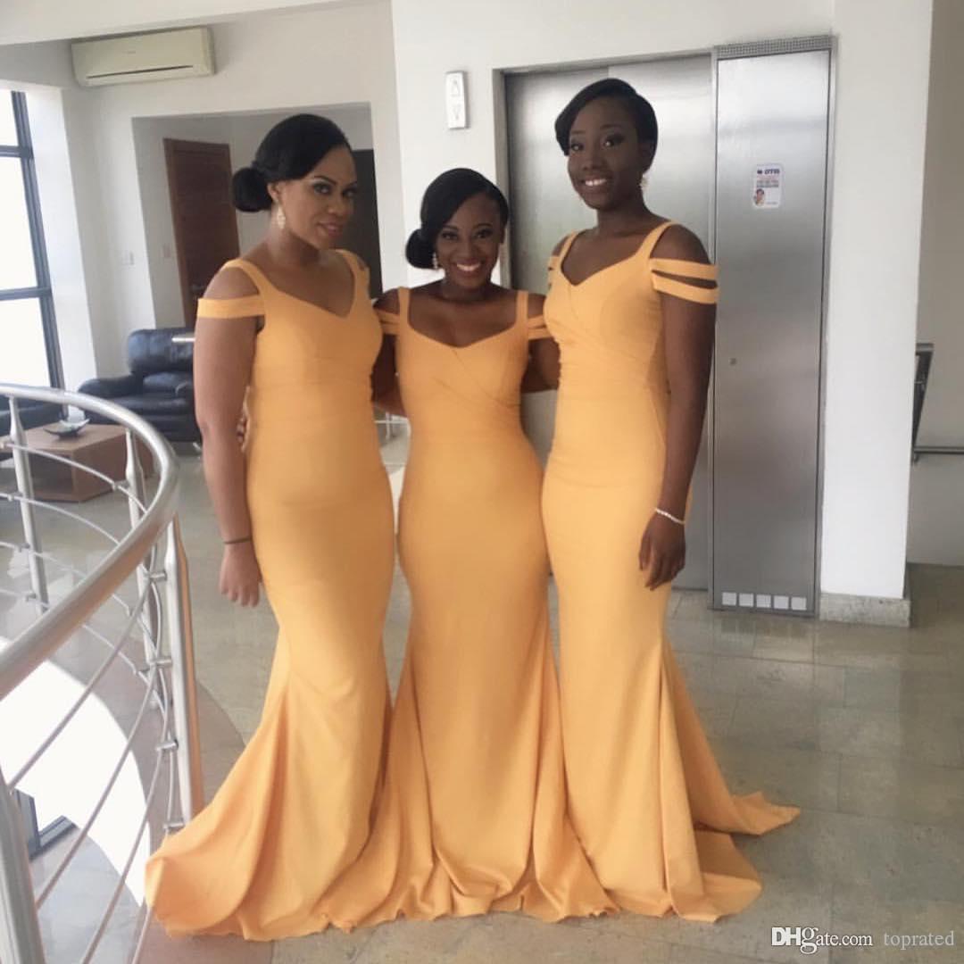 Elegante 2020 Peach Lange Brautjungfernkleider Spaghetti Mermaid Satin plus size arabische Hochzeitsgast formale Kleider Abend Trauzeugin Kleid