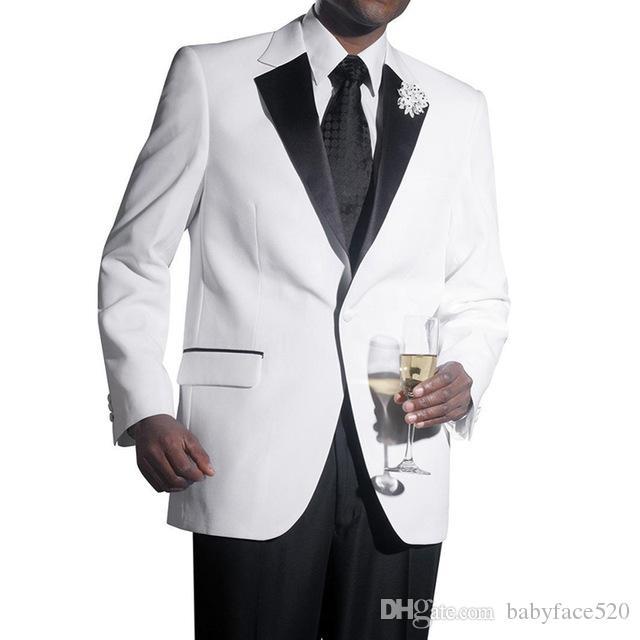 Schwarz und Weiß Hochzeit Männer Anzüge Revers One Button Zwei Stück Bräutigam Smoking Anzüge (jacke + Pants)
