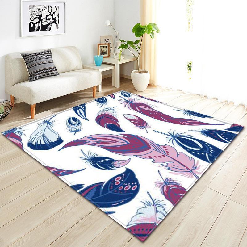 Nodic современный перо печати ковер для гостиной Спальня одеяло коврик на открытом воздухе молитвенный зал домашний коврик анти-скольжения tapete
