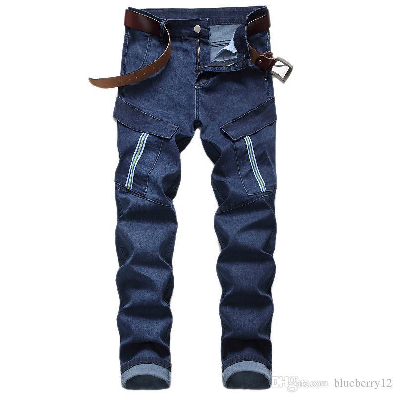 Erkek Jeans Pocket Slim Fit Denim Casual Erkek Biker Kot Pantolon 3 Renkler Asya Boyutu ile Vintage Moda Stil Erkek Jeans