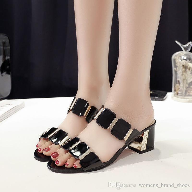 2019 Brand Summer 6cm talons chunky à la mode sexy sandales de poisson-pointe sandales talon haut polyvalent mot slip slip slip chaussures pour femmes