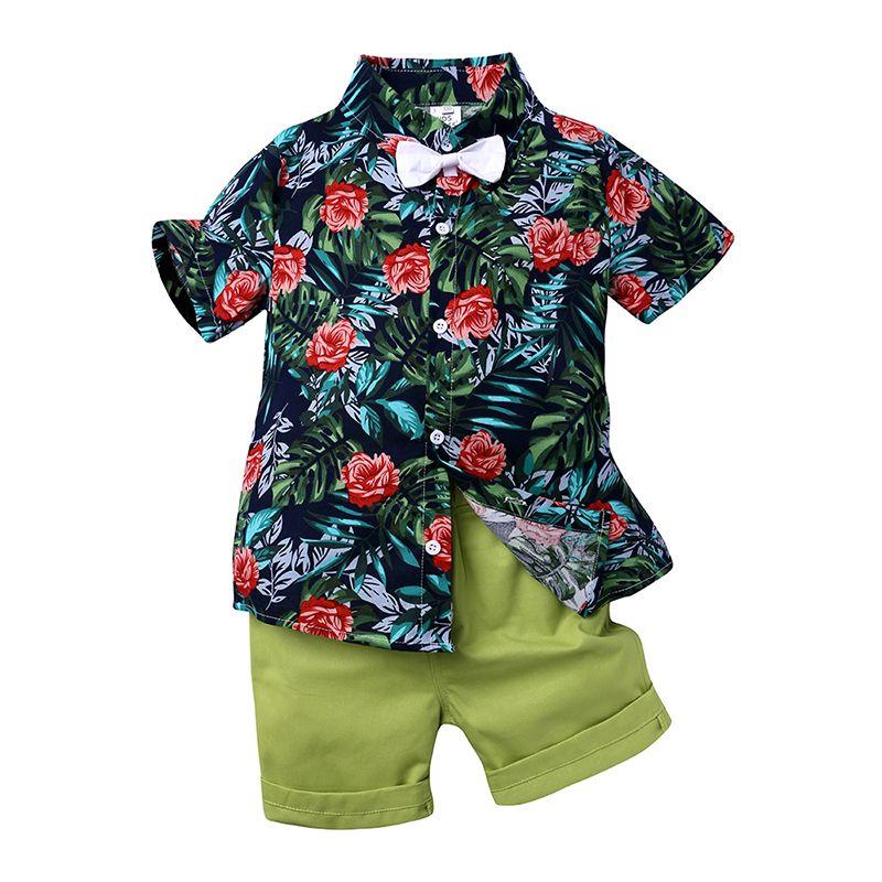 Летняя одежда прохладный детская одежда набор для мальчика с коротким рукавом галстук лук цветочные рубашки + короткие брюки 2 шт. мальчиков день рождения костюм DB537