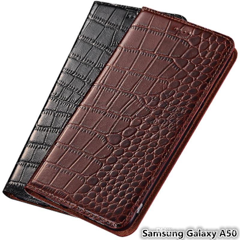 Ультра тонкий чехол для телефона Samsung Galaxy A50 из натуральной кожи Роскошный чехол для Samsung Galaxy A50 флип чехол с гнездом для карты