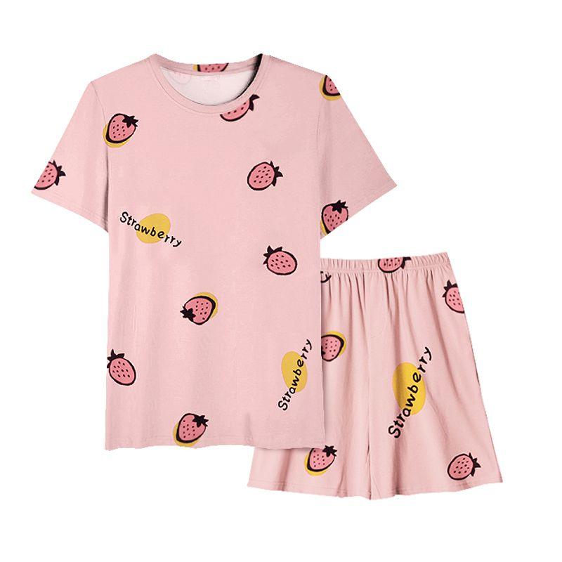 Mulheres Pijamas Set Verão bonito morango curta de Pijamas Meninas casa confortável Roupa