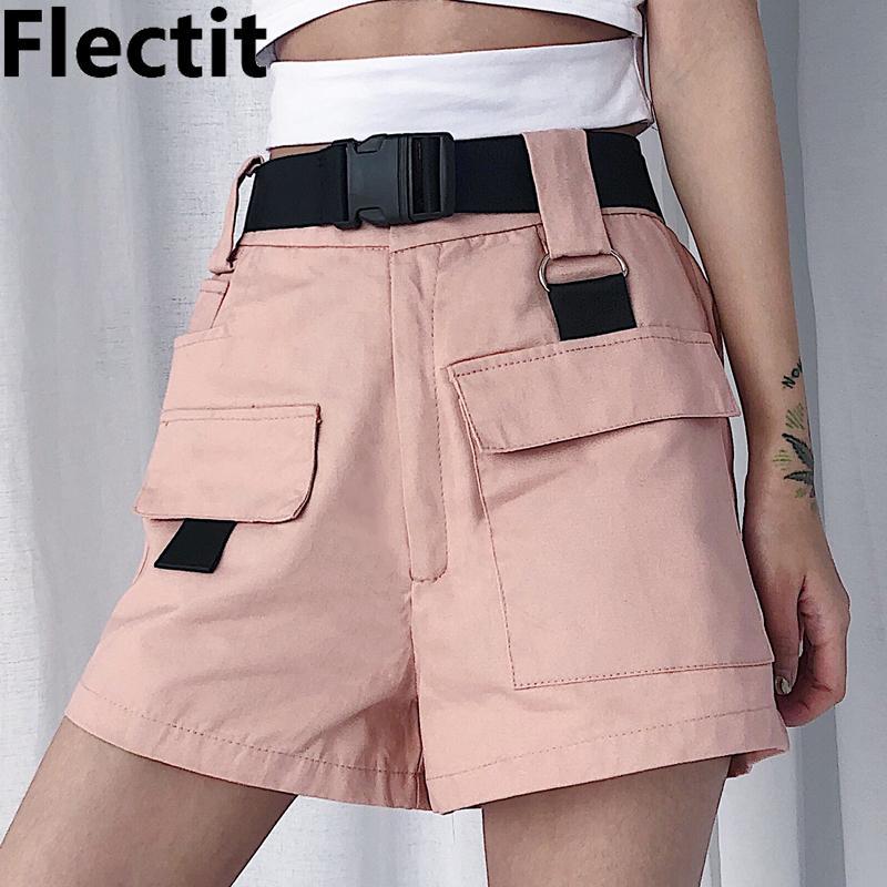 Flectit Summer Women Cargo Shorts Korean Fashion High Waist Mini Shorts with Pocket Buckle Belt Casual Ladies Shorts T200103