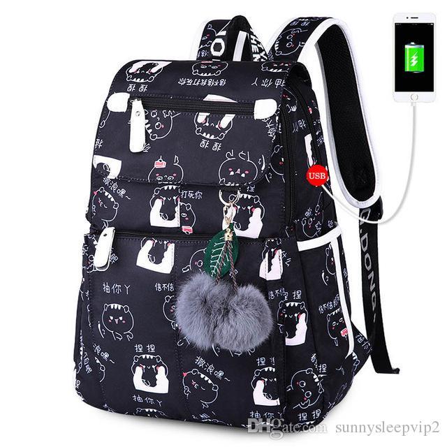 Student School Bags For Girl Usb Jack Laptop School Backpack Women