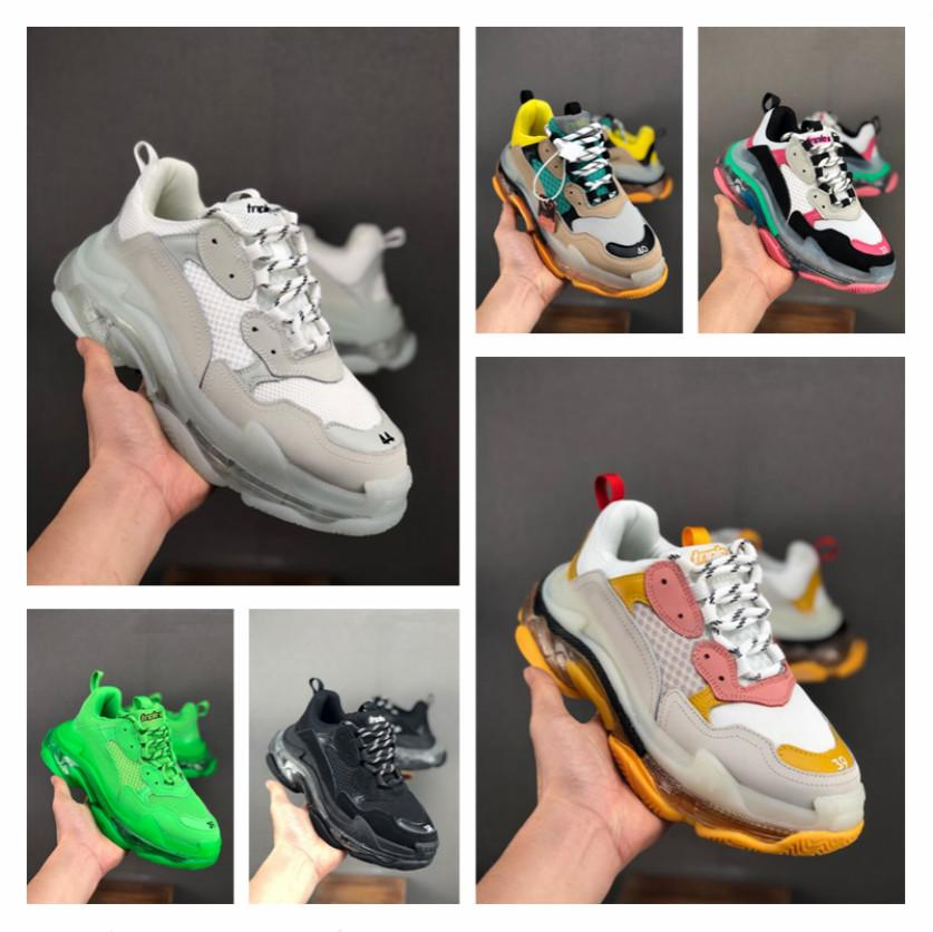 Paris 2019 Crystal Bottom Triple-S Leisure Shoes Luxury Dad Shoes Platform Triple S Sneakers for Men Women Vintage Kanye Old Grandpa Trainer