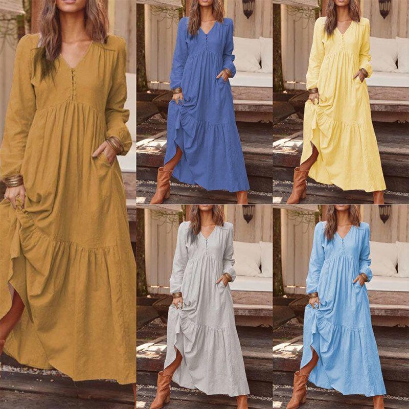 Algodão Linho Boho Puff mangas Mulheres vestido maxi Vestidos V-neck Casual Feminino Vestidos longos 2019 Moda Feminina Outono Roupa T200106
