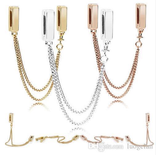2018 Autumn Argento 925 Riflessioni monili Catene galleggianti perle a catena fascino di sicurezza è adatto gioielli Pandora collana dei braccialetti per le donne