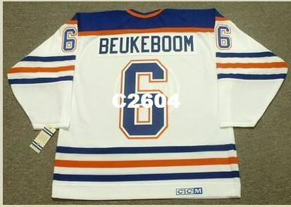 Erkekler 6. JEFF BEUKEBOOM Edmonton Oilers 1987 CCM Vintage RETRO Ana Jersey veya özel herhangi bir ad veya numara Retro Jersey