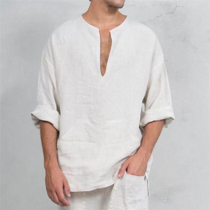 Halk Custom T Shirt Pamuk Ve Hat V Yaka T-shirt Gevşek Trompet Uzun Kollu Erkek Tees Üst