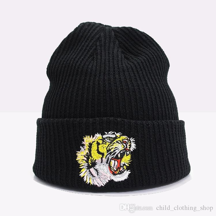 2018 New Autumn Winter Warm Cotton Beanie Knitted Embroidery Tiger Cap For Baby Hats Skullies Scarf Soft Wool Gorros Children Hats