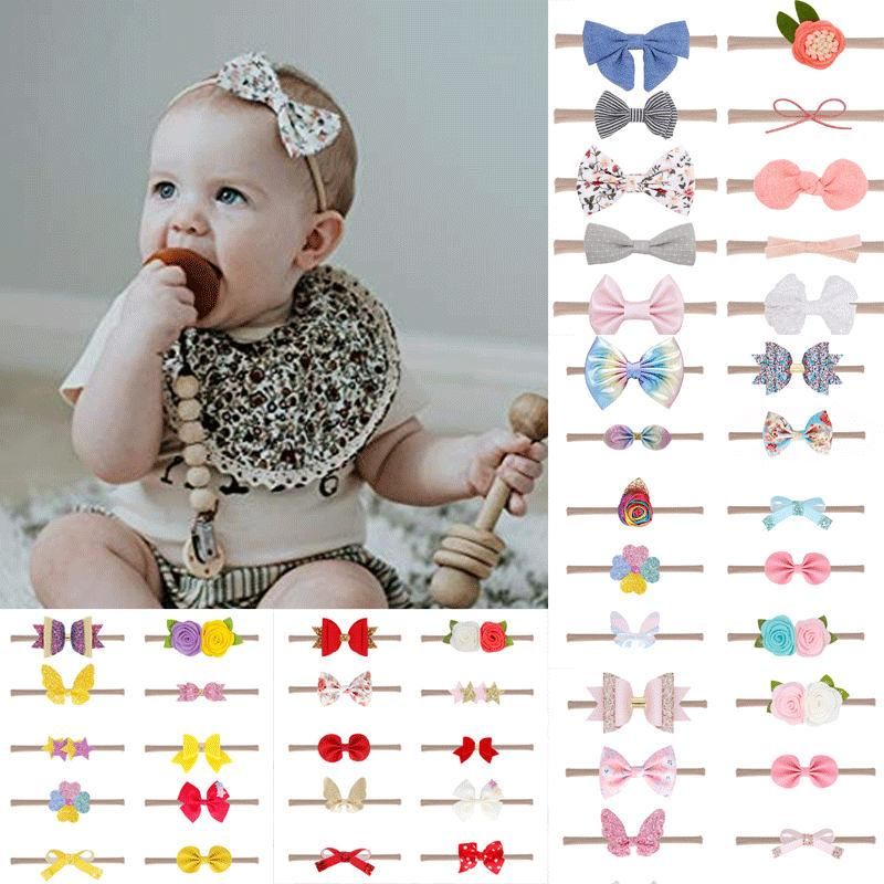Baby Toddler Girls Sparkling Sequin Princess Mini Bow Headbands Multi-Color