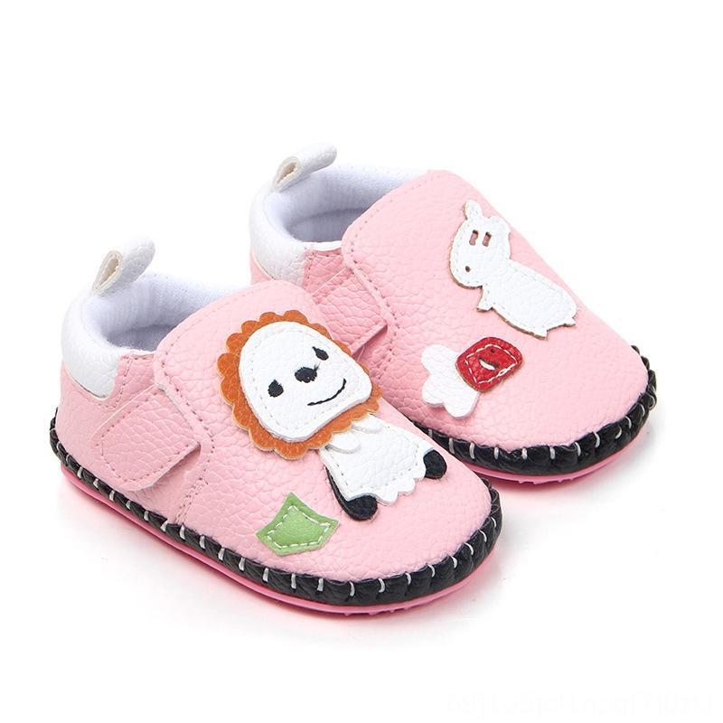 018 شهور جلد طفلة لشقة أحذية فتاة المطاط SlipOn جولة تو منقوش جلد PU حذاء طفل صبي