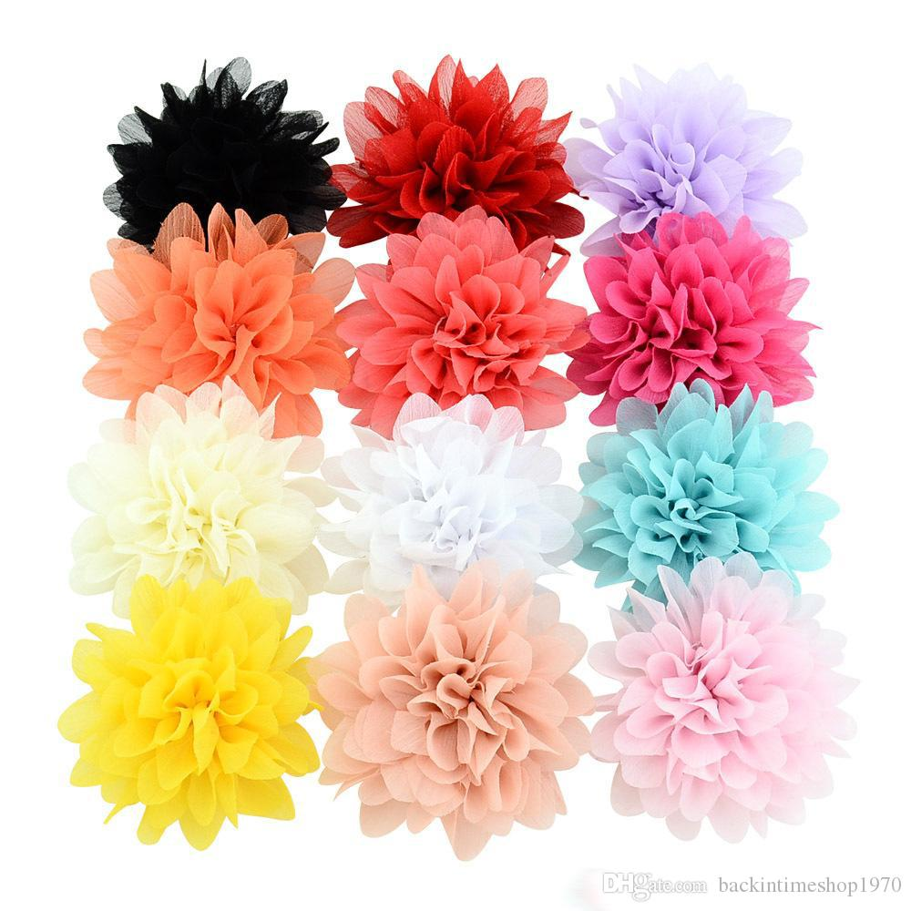 아기 헤어 클립 3.5 인치 소녀 쉬폰 꽃 헤어핀 헤어 액세서리 부티크 리본 꽃 클립 어린이 패션 버