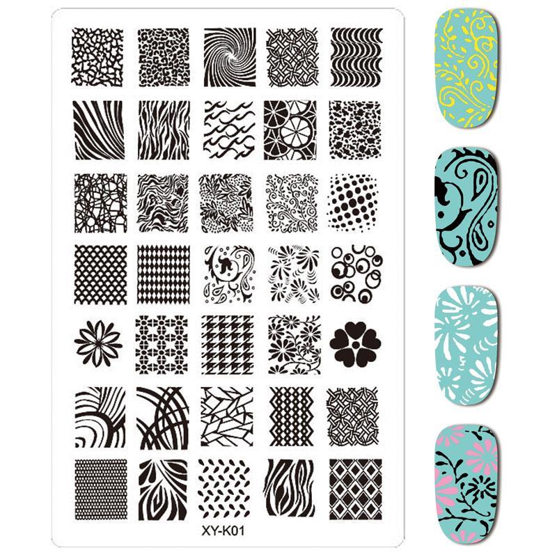Atacado 30 PCS * XY-K Prego Carimbar Placas Rendas Flor Animal Plástico Nail Art Manicure Modelos Stencils Salon Beleza Ferramenta Polonês
