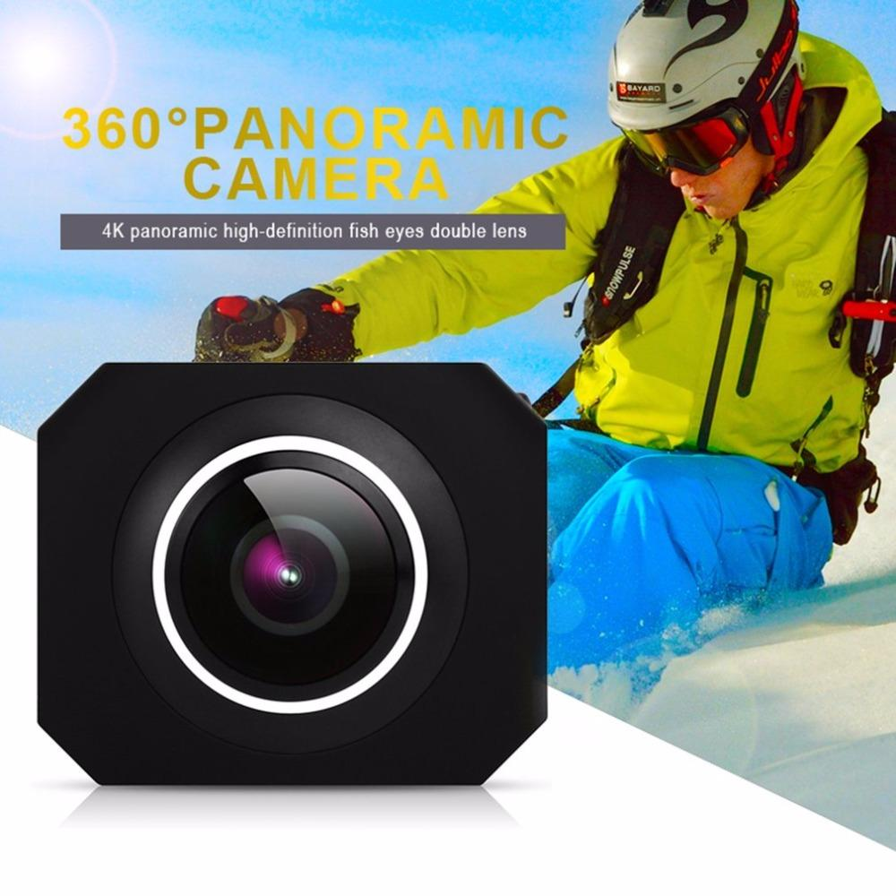 Freeshipping 4K HD 360 Panoramic Camera VR Mini Handheld Unique Dual Lens Sport Camera WiFi Video Action Sports Camera PANO360