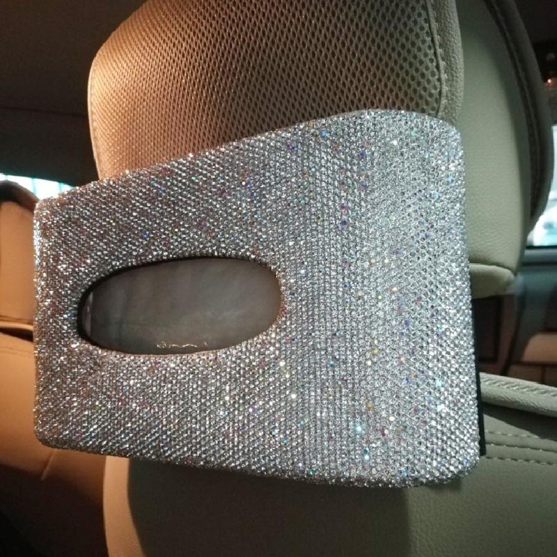 Sparkly автомобилей Tissue Box с белыми кристаллами Подголовник Back Seat Висячие Tissue Box Большой подарок для женщин автомобиля Аксессуары для интерьера