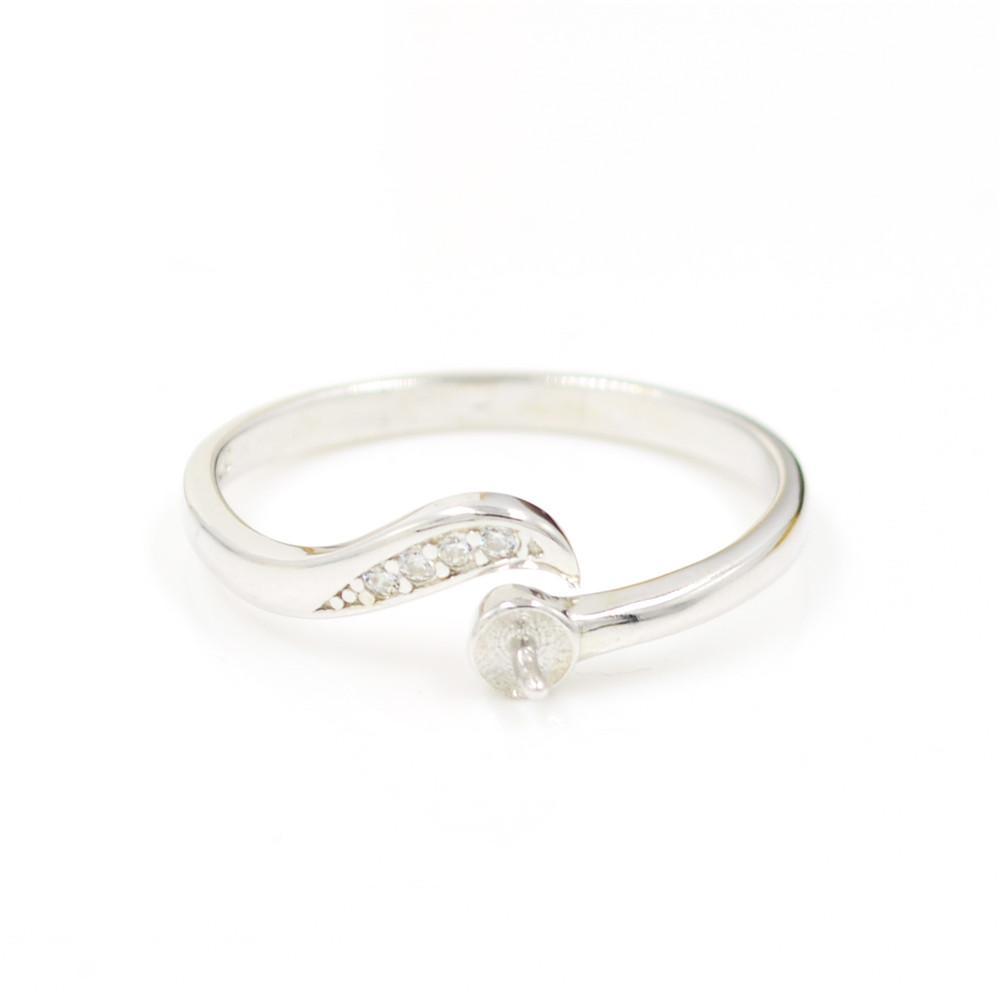 Оптовая продажа S925 стерлингового серебра кольцо крепления полулунная форма дизайн для женщин жемчужные украшения diy бесплатная доставка регулируемое открытие