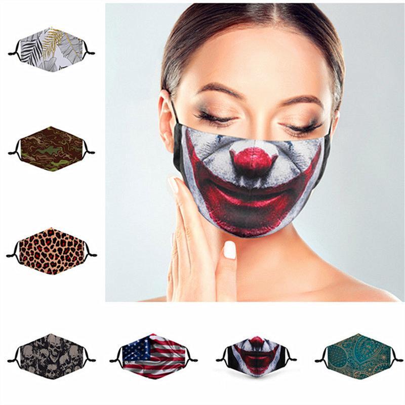 3D Karikatür Yüz Bayrak Çiçek Hayvan Koruma Maskesi INS yazdır Maskesi Kadınlar Erkekler toz geçirmez Tasarımcı Maskeler Yıkanabilir Pamuk Sihirli Yüz Maske