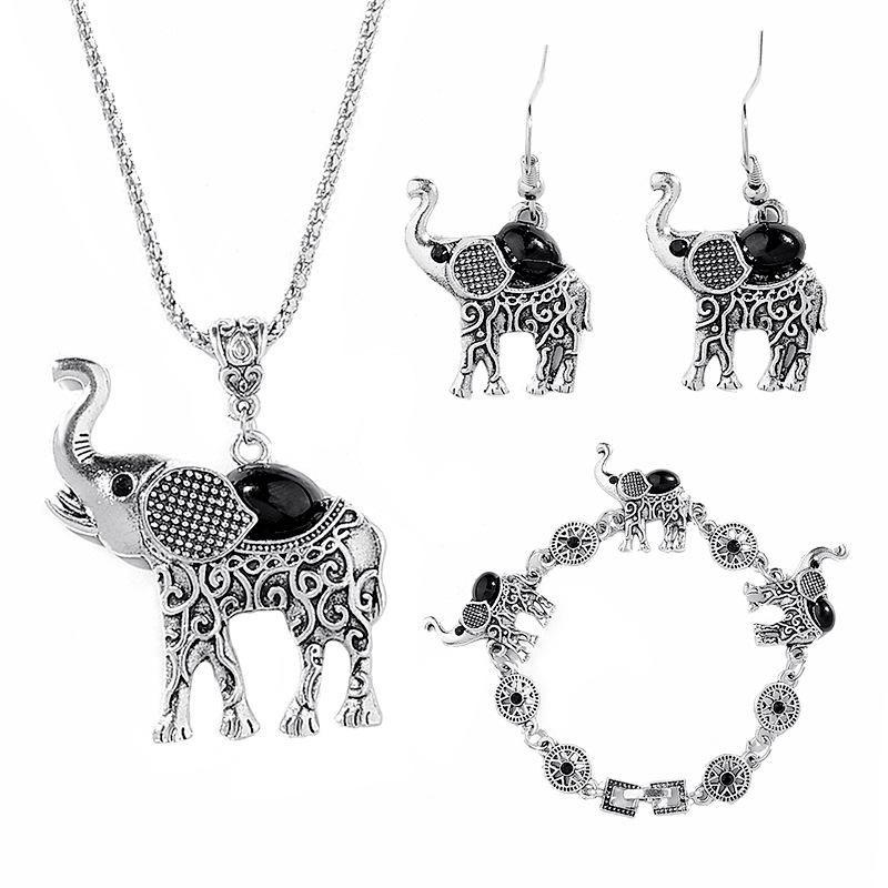 جميلة الفيل مجموعة مجوهرات للنساء البوهيمي ريترو مجوهرات أنيقة مجموعة صغيرة سبيكة قلادة أقراط طقم مجوهرات الحيوان الياقة
