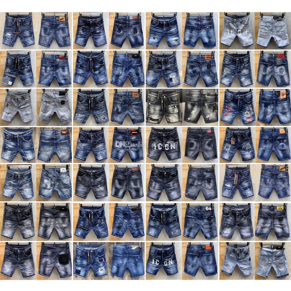 Panelli Kalça HOP Pantolon kjahw Motosiklet Denim Yarım Pantolon şort d2 Yıkanmış ds erkek Rozet simgesi het kot Siyah Jean moda Slim Fit