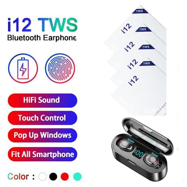 i12 i9S I11 Inpods 12 F9 TWS Bluetooth V5.0 Kablosuz Kulaklık Pop Up Pencere Kulaklık Stereo Dokunmatik Kontrol Kulaklık Kulaklık ile Mikrofon