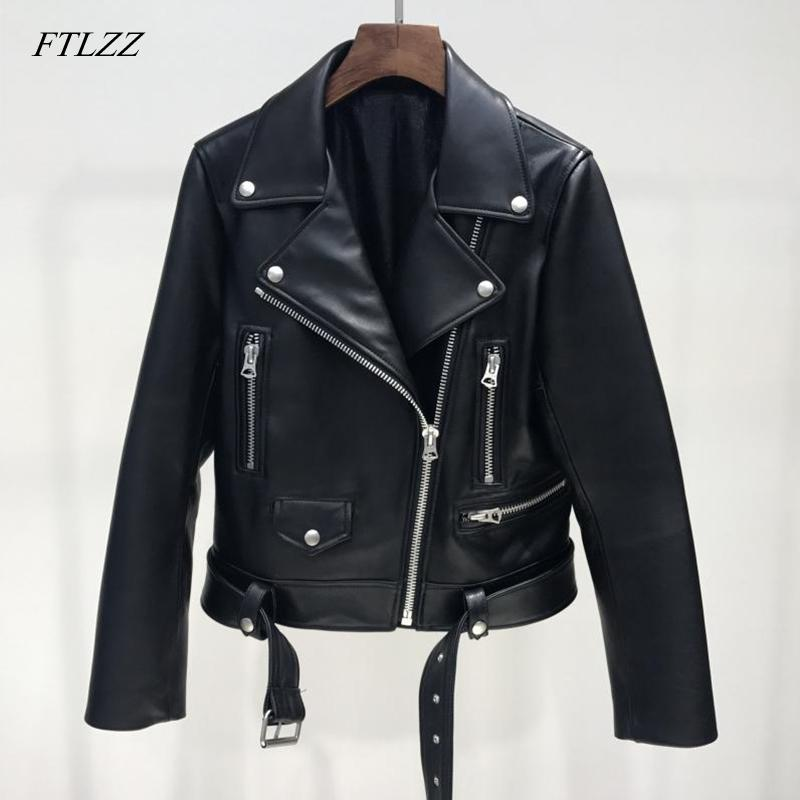 FTLZZ New Autumn Women Pu Leather Jacket Woman Zipper Belt Short Coat Female Black Punk Bomber Faux Leather Outwear