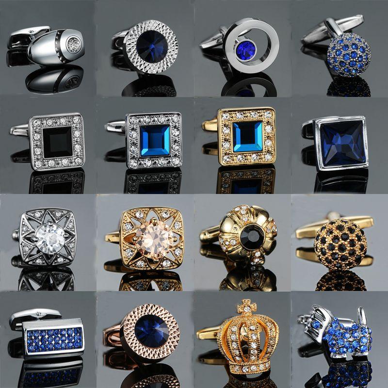 Новинка роскошный синий белый запонки для мужской бренд высокое качество корона Кристалл золото серебро запонки рубашка запонки D19011003