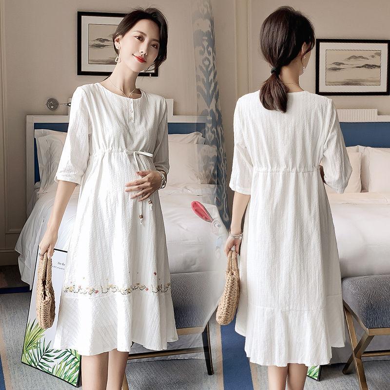 2020 New Summer Pregnant Women Cotton Elegant Half Sleeve White Dress Maternity Causual Midi Dresses Vestido H11