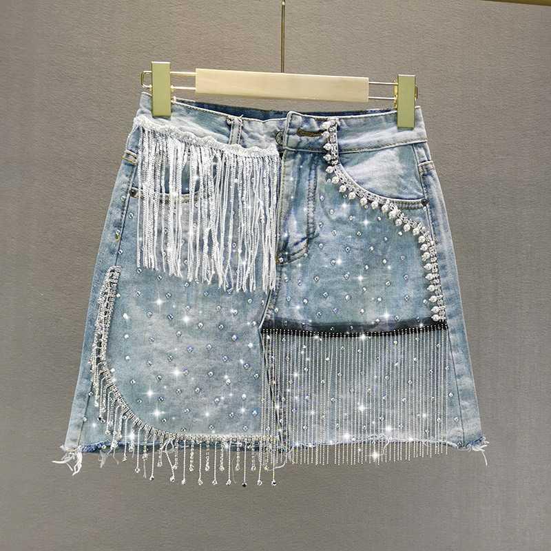 Mini-Denim-Rock Female 2020 Sommer-neues In mit hohen Taille Abnehmen Schweren Rhinestone-Troddel A- Linie Rock Damen Röcke Jean Jupe