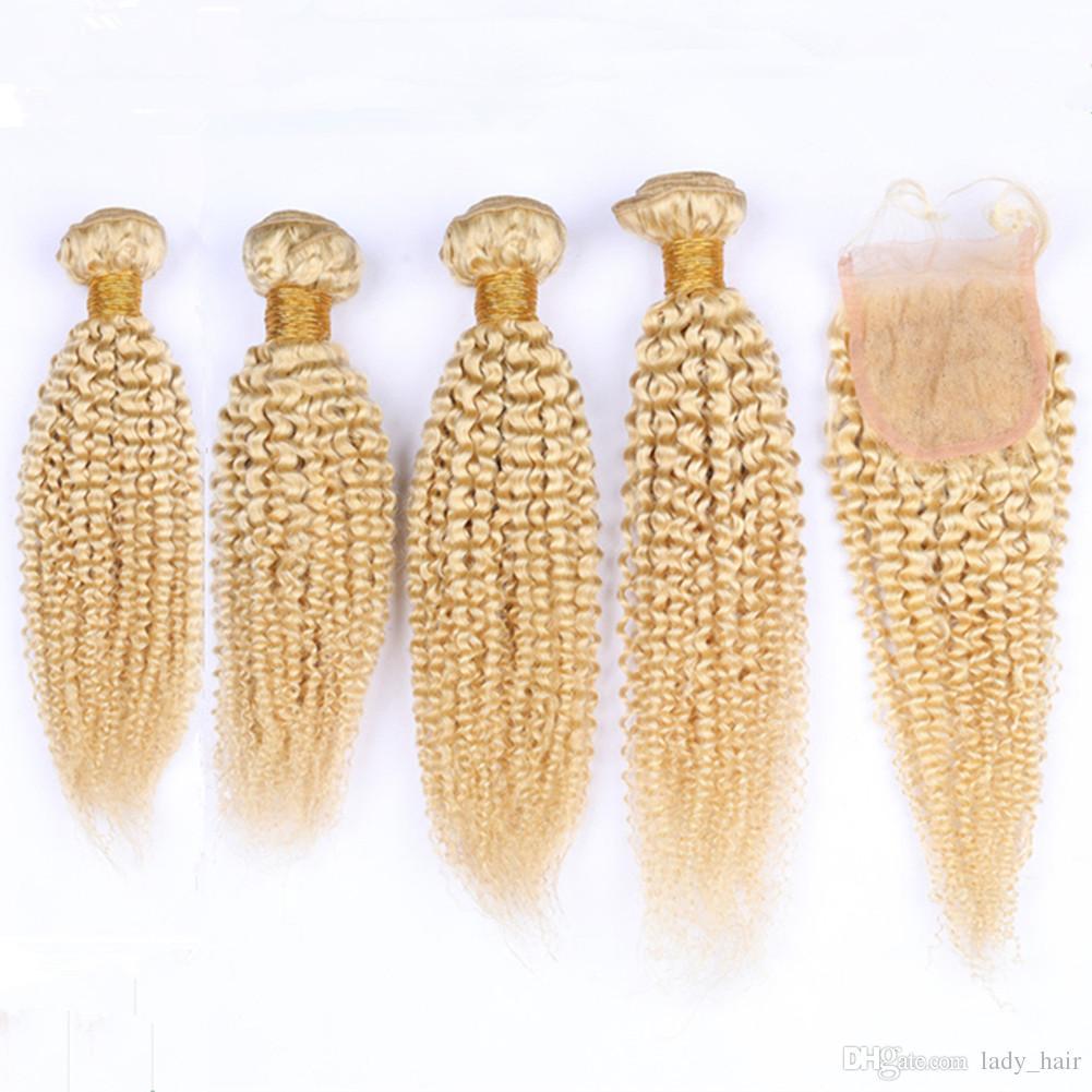 # 613 금발의 곱슬 곱슬 한 컬리 말레이시아 인간의 머리카락은 클로저 5PCS와 함께 4x4 레이스 클로저 조각과 로트 블리치 금발 곱슬 위블 번들