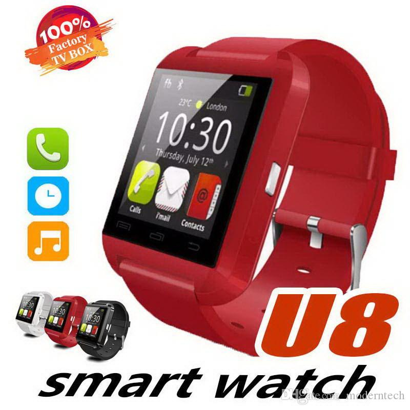 Bluetooth Smart Watch U8 Watch Wrist Smartwatch para iPhone 5S 6 6S 6 plus 7 7s 8 Samsung S6 S7 Note 4 Note 5 HTC Android Teléfono Smartphones