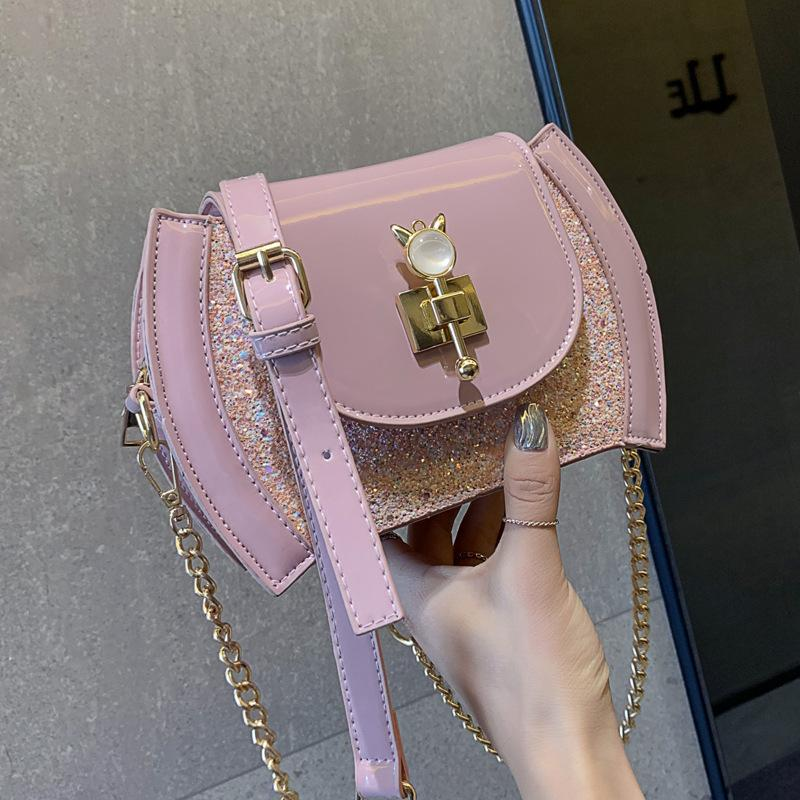 Belle2019 Rui Man Senior Feel Bag Paquet Style Western Femme All-match Messenger Paquet Chaîne Cuir Verni Paillette Simple