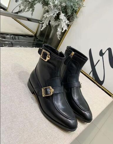 Hot Sale-Brand Full Grain Leather Booties for women Fashion Designers Lady Moto Boots Ankle Shoes