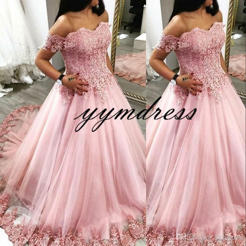 Pink Quinceanera Dresses 2019 Off Shoulder Tull Formal Party Gowns Sweetheart Lace Applique Ball Gown Prom Dresses