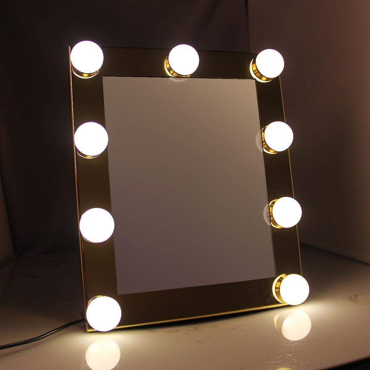 Тщеславие Столешницы Освещенные зеркало для макияжа с 9 LED лампочка загорается сенсорный экран Этап красоты Зеркало Регулируемая Cosmetic инструмента