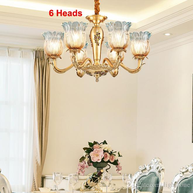 lustre de luxo high-end cobre Europeia bela iluminação lustre de vidro ilumina luminária para Hotel Villa quarto sala de estar