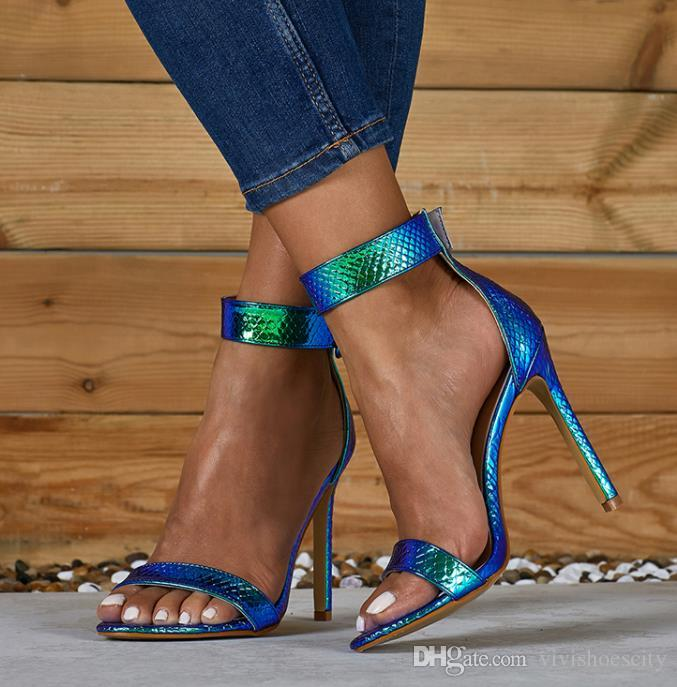 big size 35 to 40 41 42 sexy blue ankle strap woman designer high heel sandals silver wedding shoes come with box
