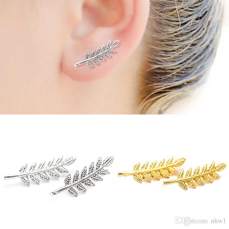 New Vintage Leaves Ohrringe für Frauen Schöne Baumblatt Ohrringe oder wie Feder Ohrringe Ohrclip