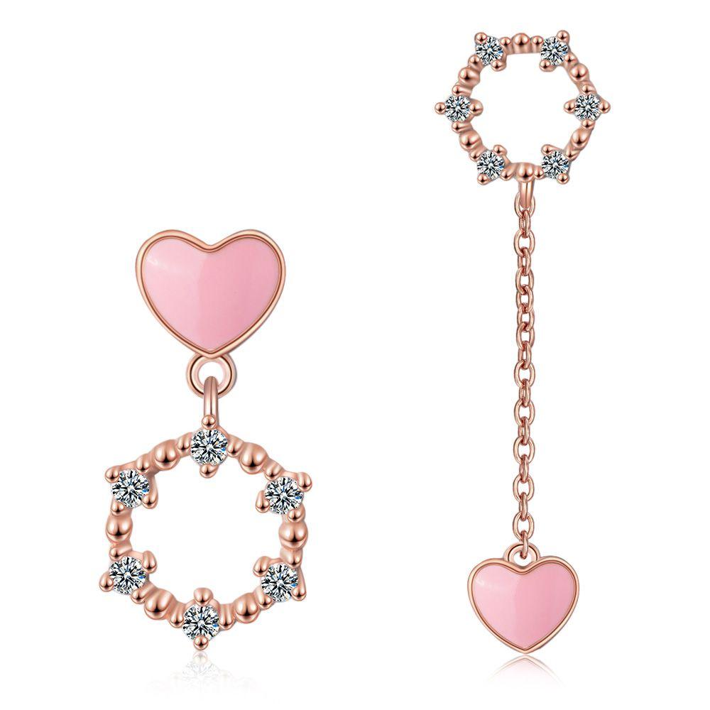 ED730 rosa herz Kristall Aushöhlen Tropfen Ohrringe Für Frauen süße Lange rose gold Baumeln Ohrringe Schmuck Geschenke