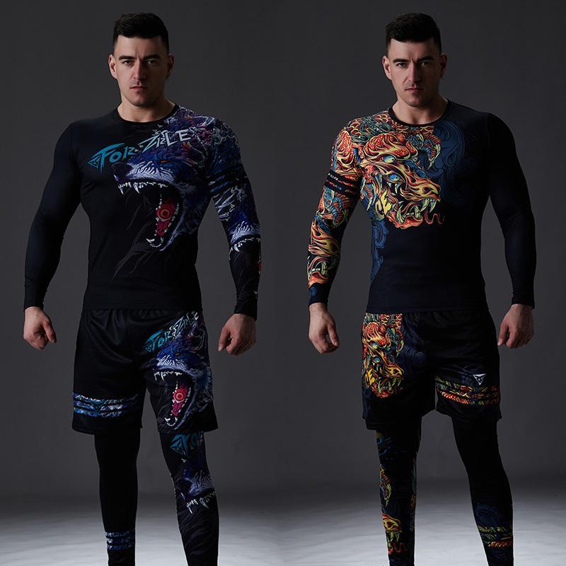 ZRCE китайский стиль мужской спортивный костюм тренажерный зал фитнес компрессионный спортивный костюм одежда бег трусцой спортивная одежда упражнения тренировки набор T200601