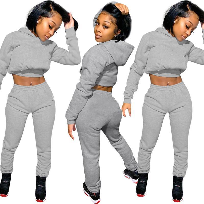 Мода Письмо печати Женщины Tracksuit вышивки с капюшоном с длинным рукавом + брюки Леггинсы Два Piece Set Осень Костюмы Спортивная Clothings