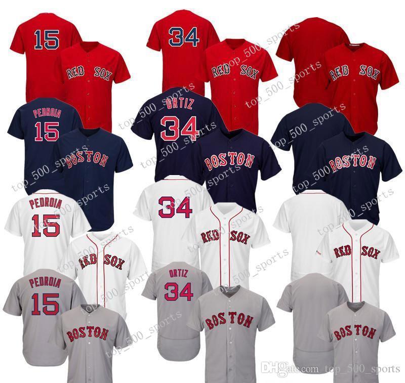 High quality Men Pedroia 15 Ortiz 34 Short sleeve shirt button down shirts Cool Base Hot Baseball Jerseys